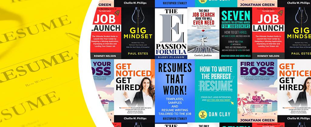Banner with covers of free job search books