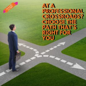 man standing at crossroad