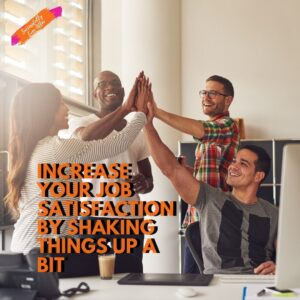 Group of co-workers high fiving showing job satisfaction