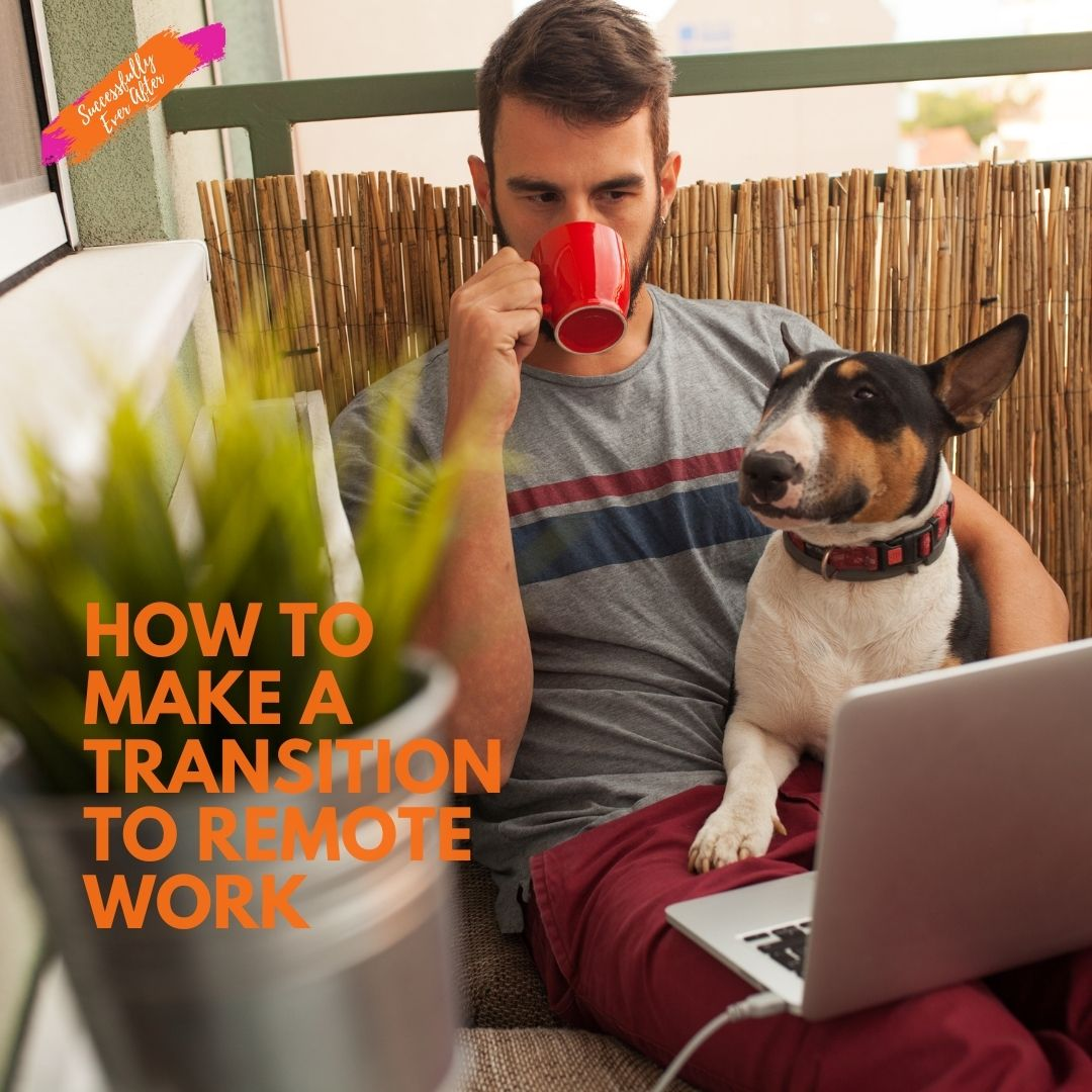 man with dog drinking coffee doing remote work on a computer