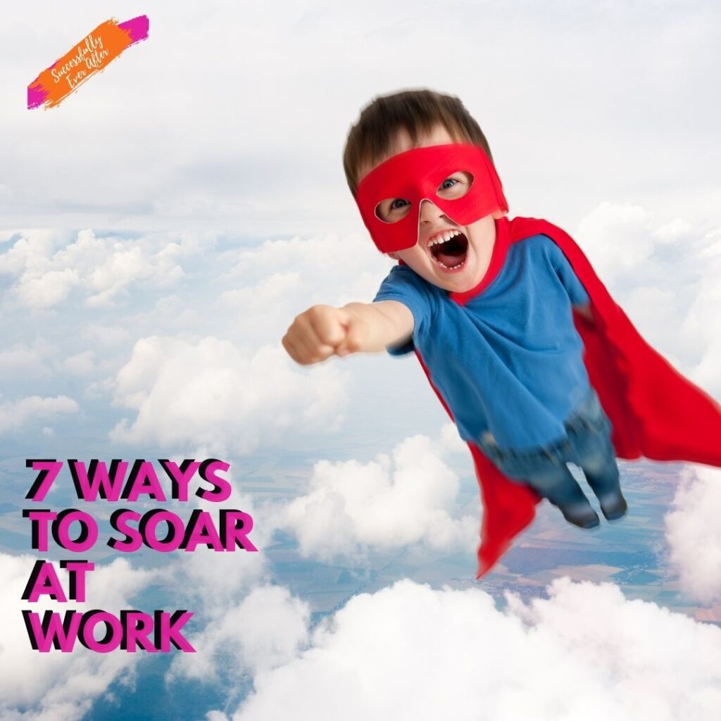 excited child dressed as super hero flying in clouds