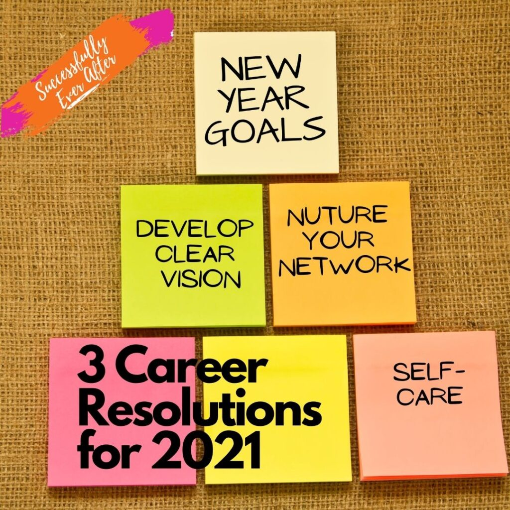 bulletin board with sticky notes showing New Year's Career Goals