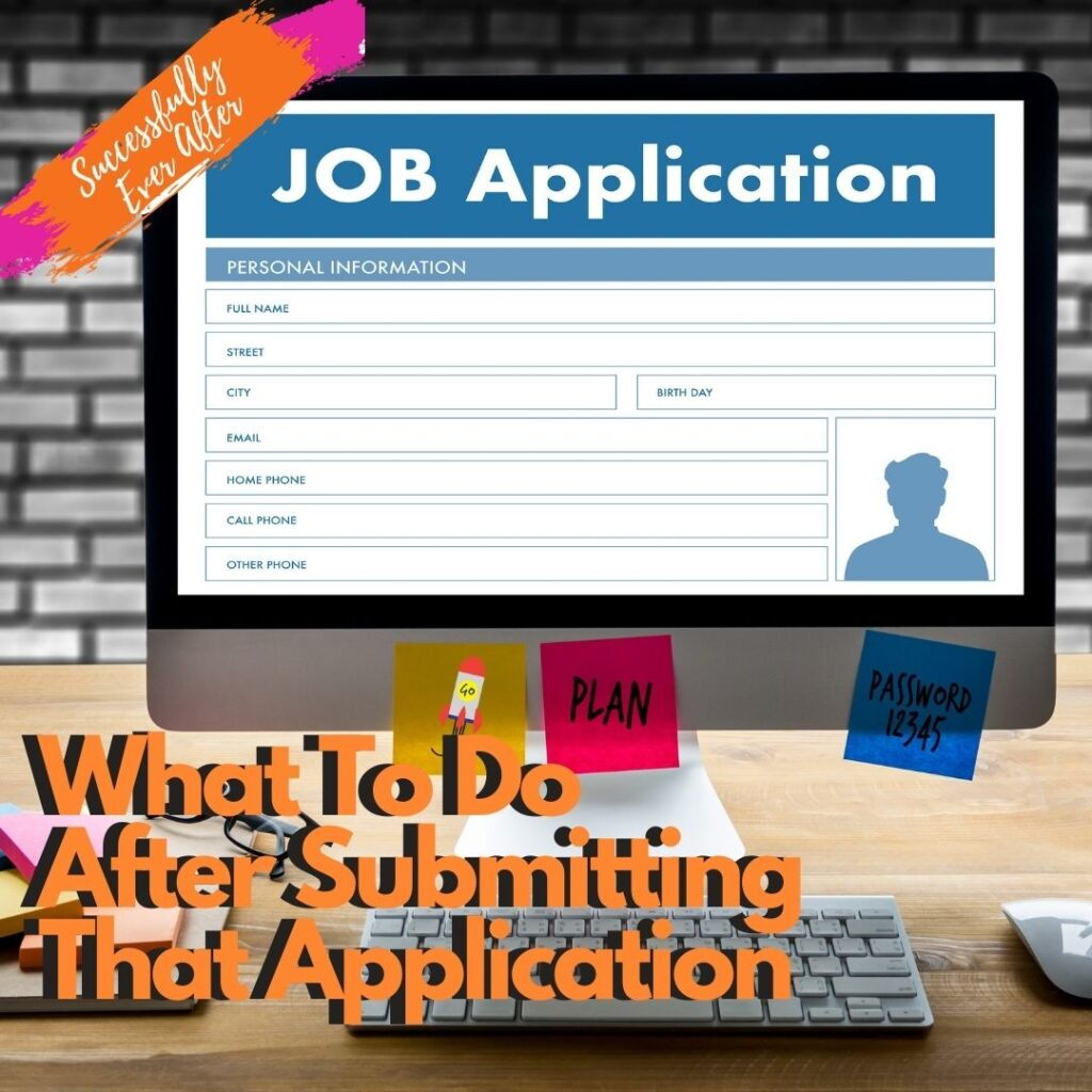 Online job application on computer screen.