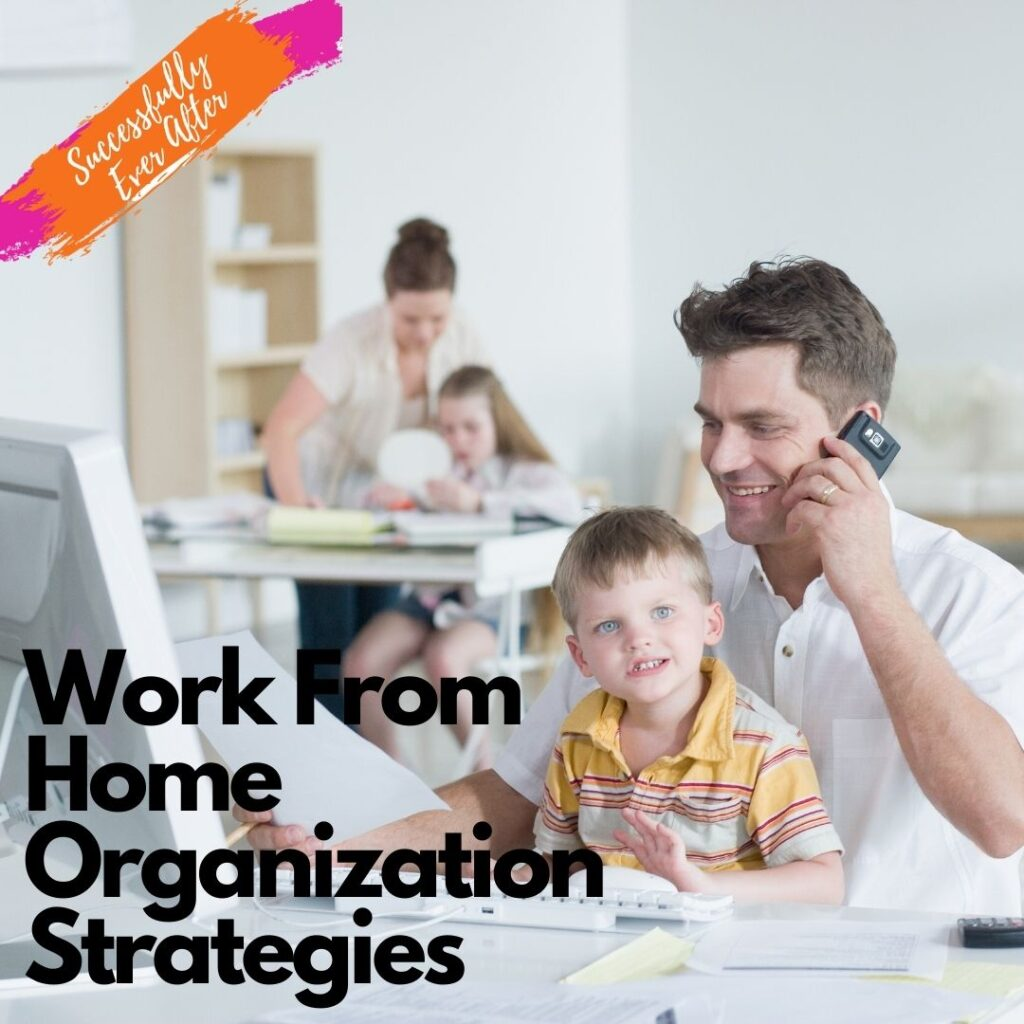 Man working from home with child on lap