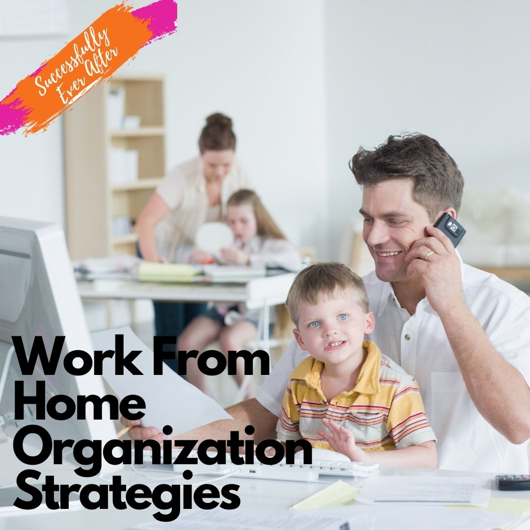 Man working from home with child in lap