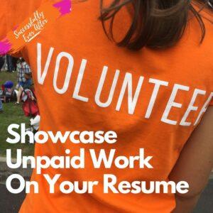 female wearing volunteer shirt